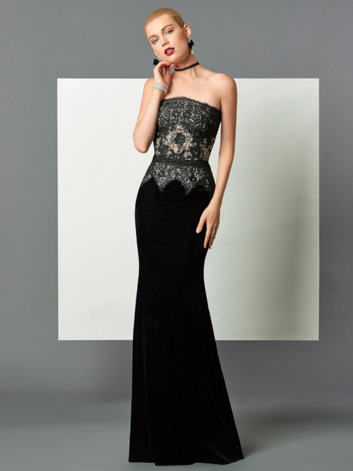 Mermaid Strapless Lace Velvet Floor-Length Evening Dress