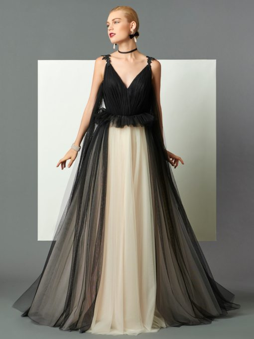 A-Line V-Neck Ruched Backless Sweep Train Evening Dress