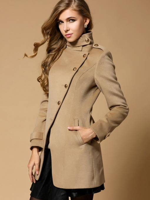 Single-Breasted Asymmetric Turtleneck Women's Overcoat