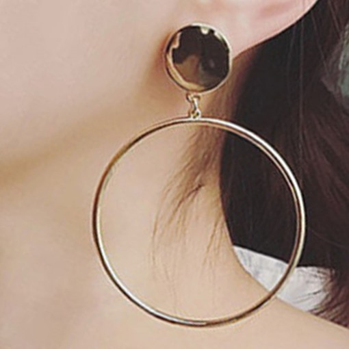 Metal Circle Pendant Women's Hoop Earrings