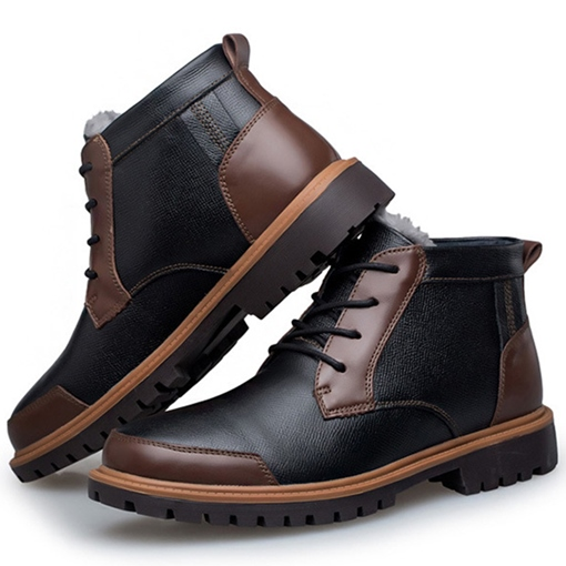 Black Low Heel Men's Boots
