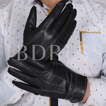 Black Artificial Leather Wear Resistant Warm Gloves for Men