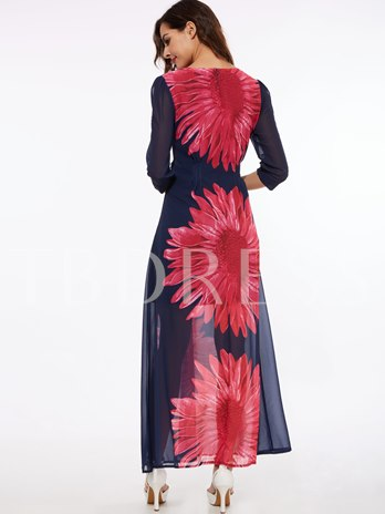 3/4 Sleeve Flower Printed Women's Maxi Dress (Plus Size Available)