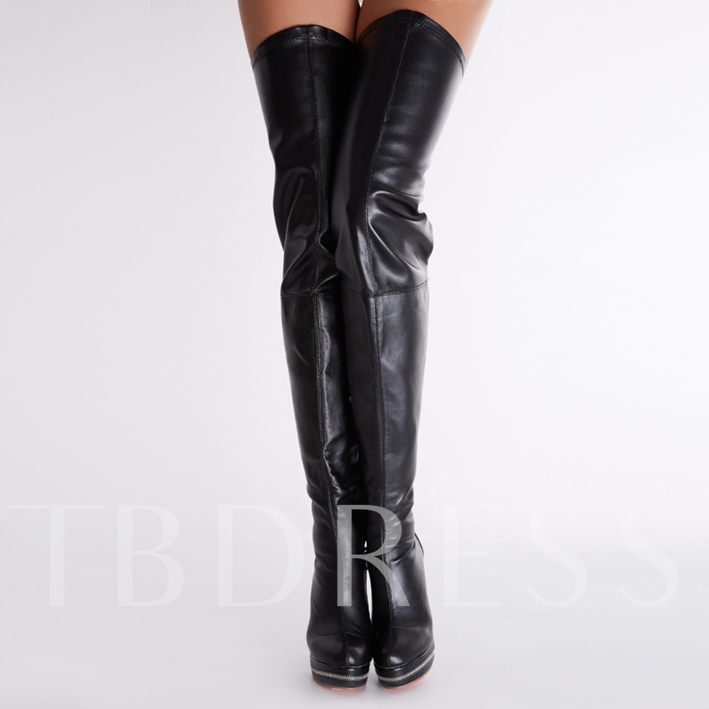 Stiletto Heel Black Knee High Women Boots