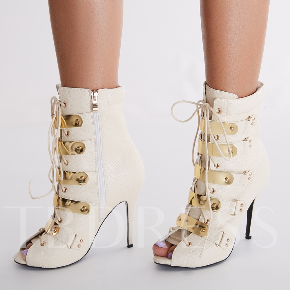 Stiletto Heel Side Zipper Ankle Patchwork Peep Toe Women's Boots