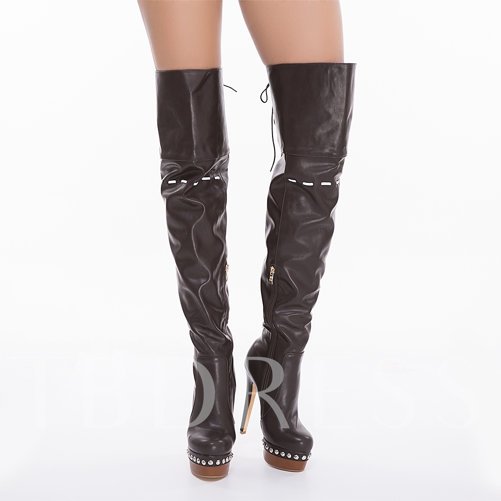 Round Toe Side Zipper Over-the-Knee Plain Women's Boots
