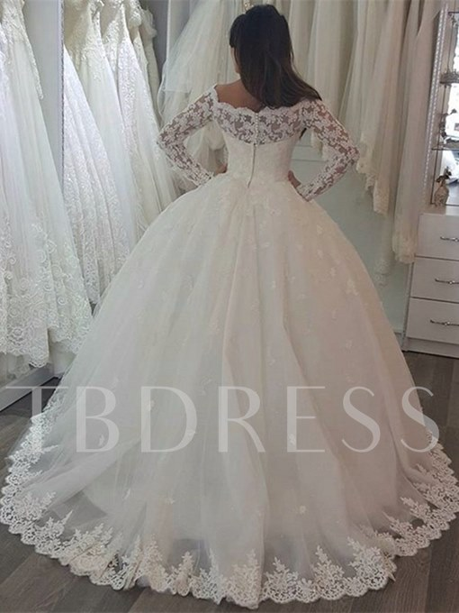 Appliques Ball Gown Wedding Dress with Long Sleeve