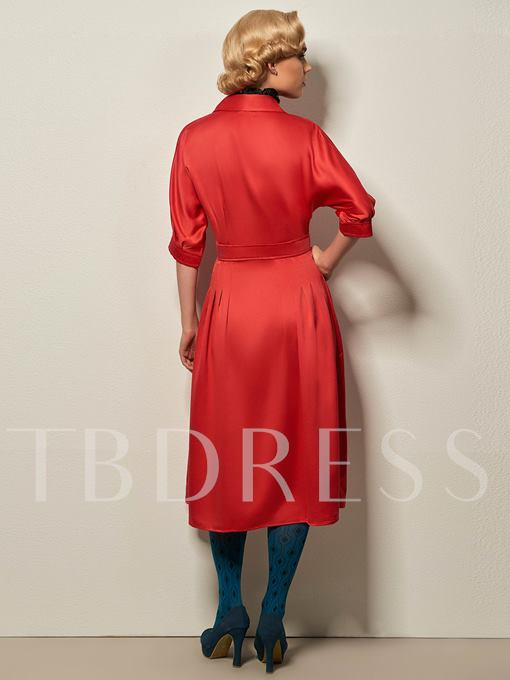 Red Zipper Lapel Women's Day Dress (Plus Size Available)