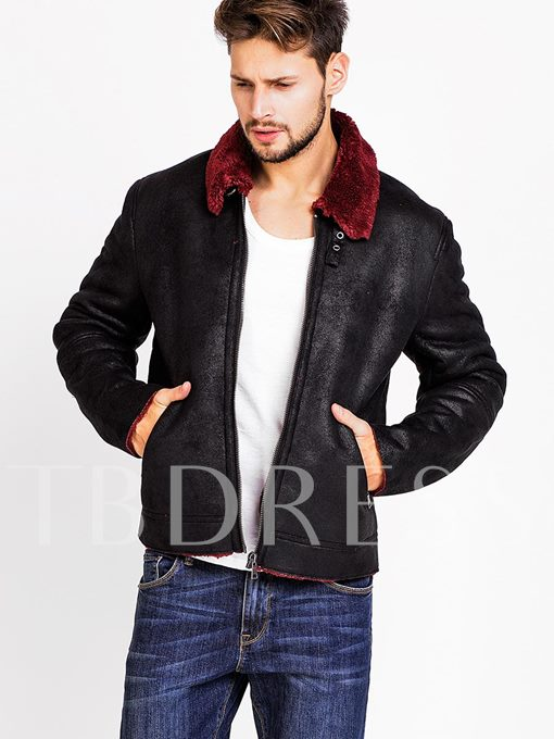Faux Shearling Jacket With Contrast Collar