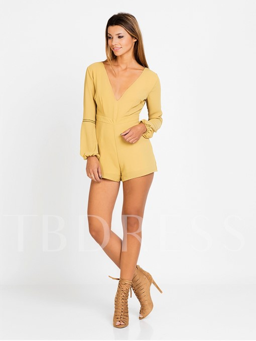 V-Neck Long Sleeve Backless Yellow Women's Rompers