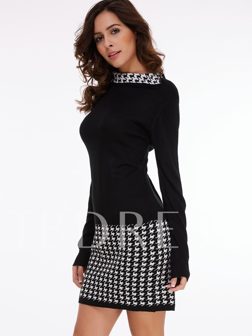 Amazing Houndstooth Long Sleeve Women's Bodycon Dress