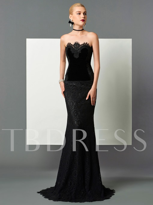 Column Velvet Strapless Lace Sweep Train Evening Dress