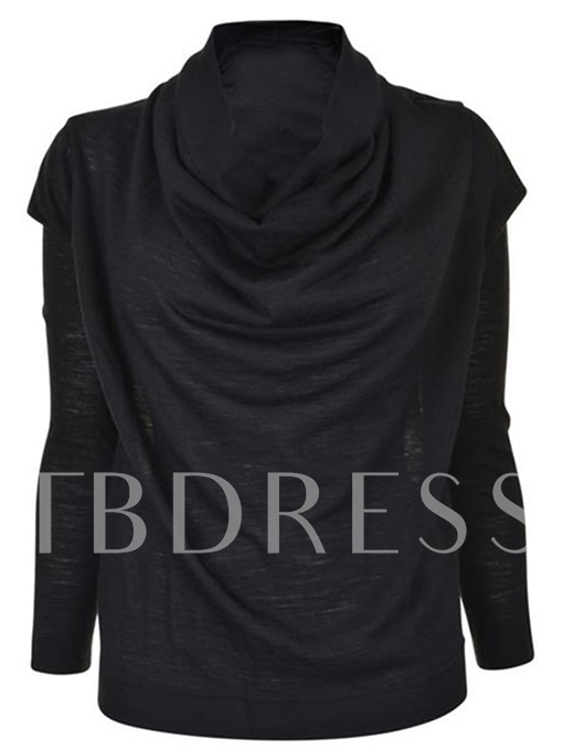 Pleated Solid Color Heap Collar Long Sleeve Women's T-Shirt