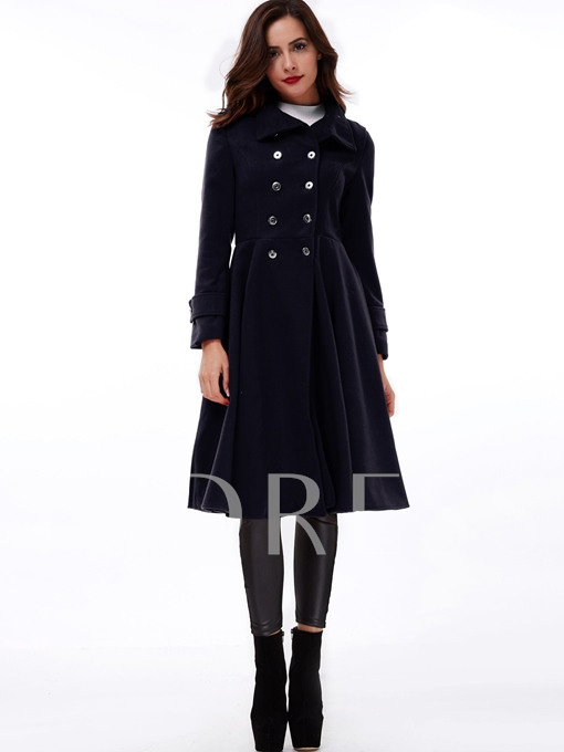 Over-turned Collar Double-Breasted Peplum Women's Trench Coat