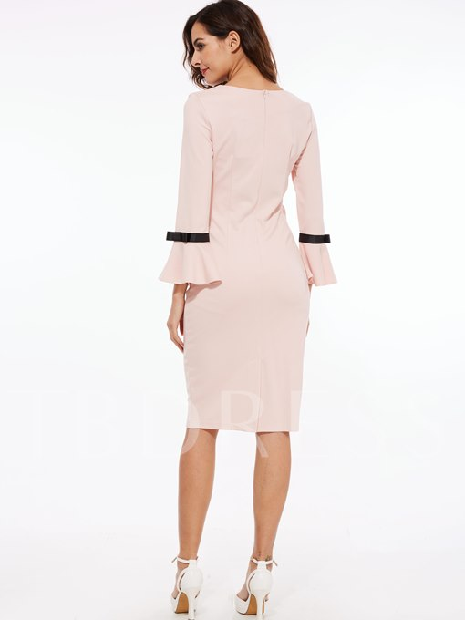 Bell Sleeve Bowknot Women's Sheath Dress