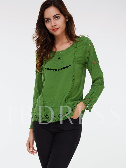 Solid Color Hollow Lace Round Neck Long Sleeve Women's Blouse