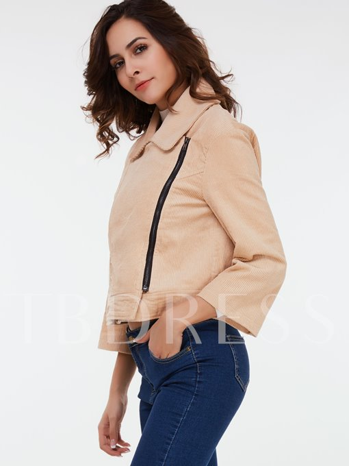 Solid Color Zipper Lapel Women's Jacket