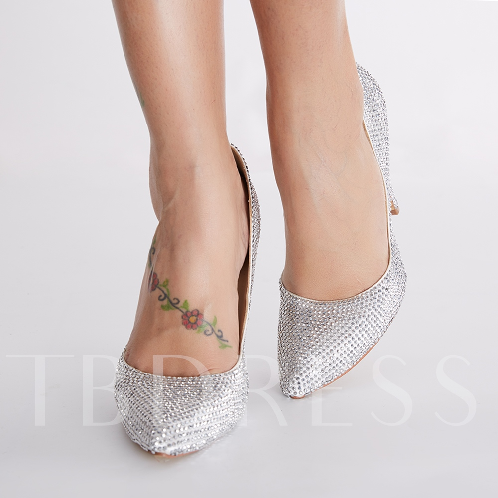 Rhinestone Slip-On Stiletto Heel Women's Pumps