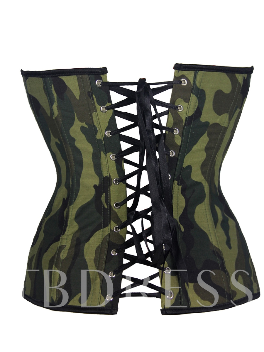 Camouflage Lace-Up Fancy Corset