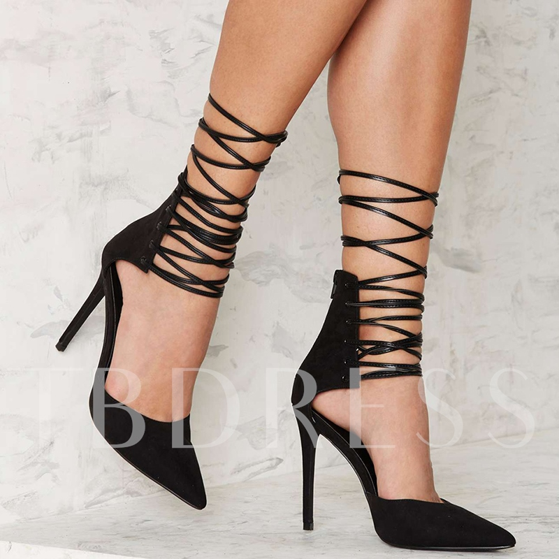 Pointed Toe Lace-Up Stiletto Heel Pumps