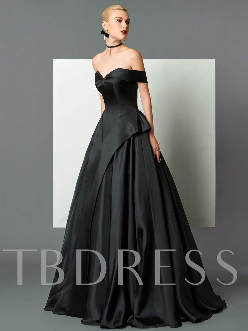 A-Line Off-the-Shoulder Black Evening Dress