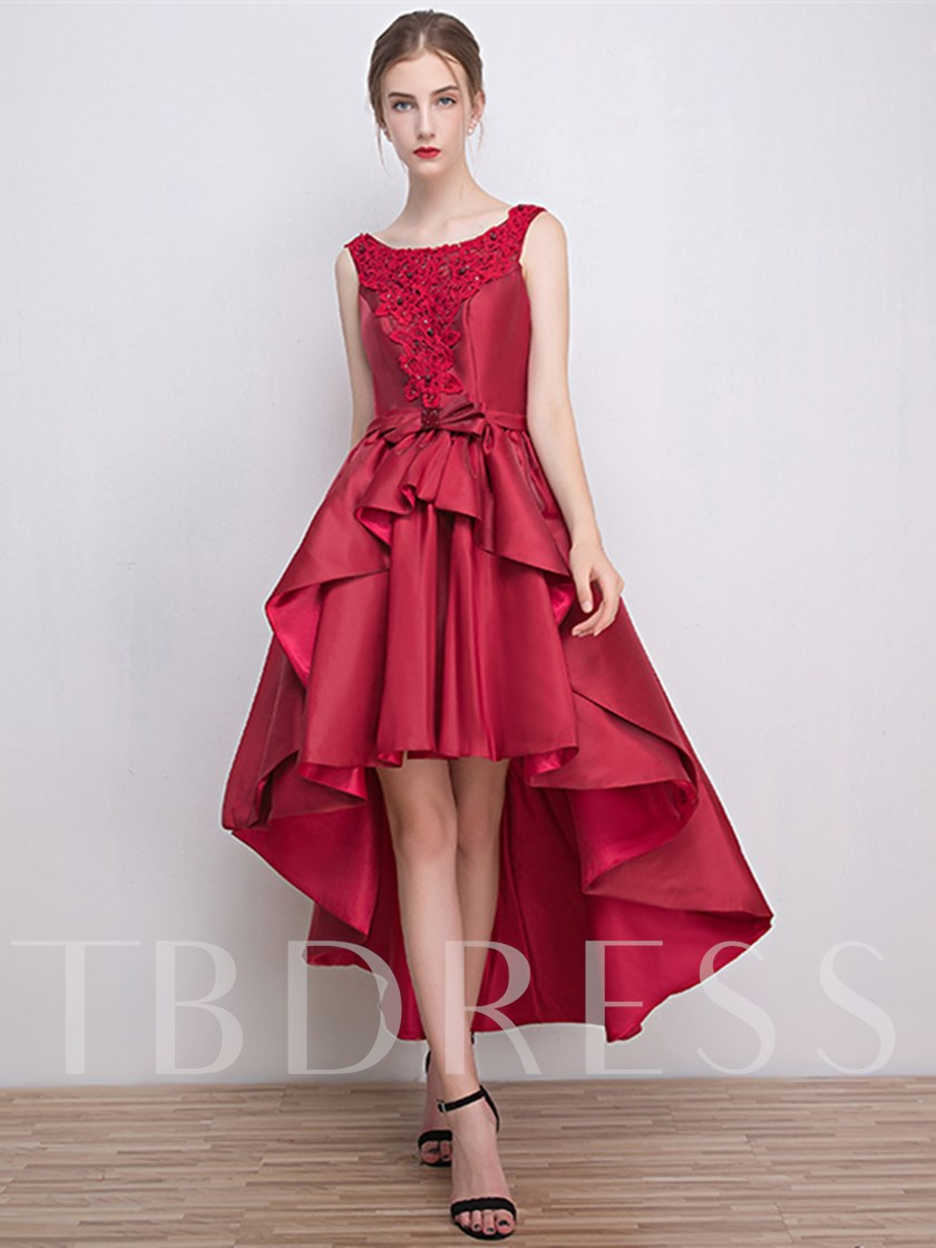 A-Line Scoop Appliques Bowknot Asymmetry Cocktail Dress