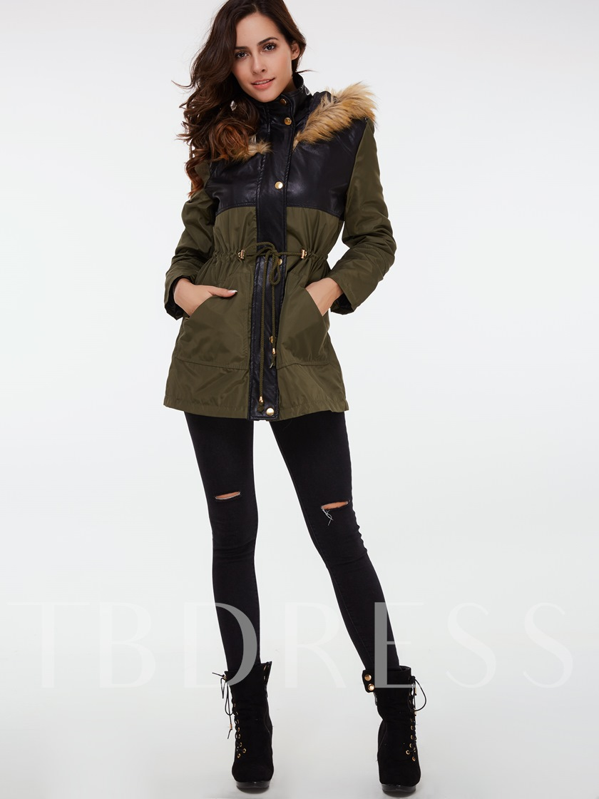Single-Breasted Patchwork Color Block Stand Collar Long Sleeve Women's Overcoat