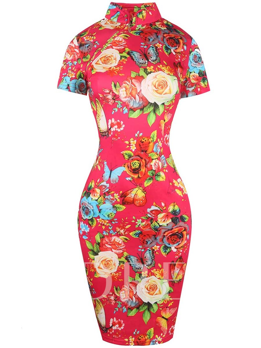 Turtle Neck Floral Printed Women's Bodycon Dress