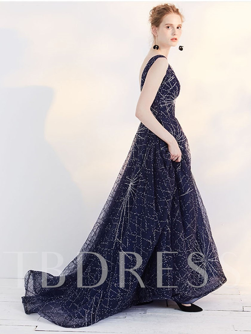 Backless Scoop A-Line Beading Court Train Evening Dress