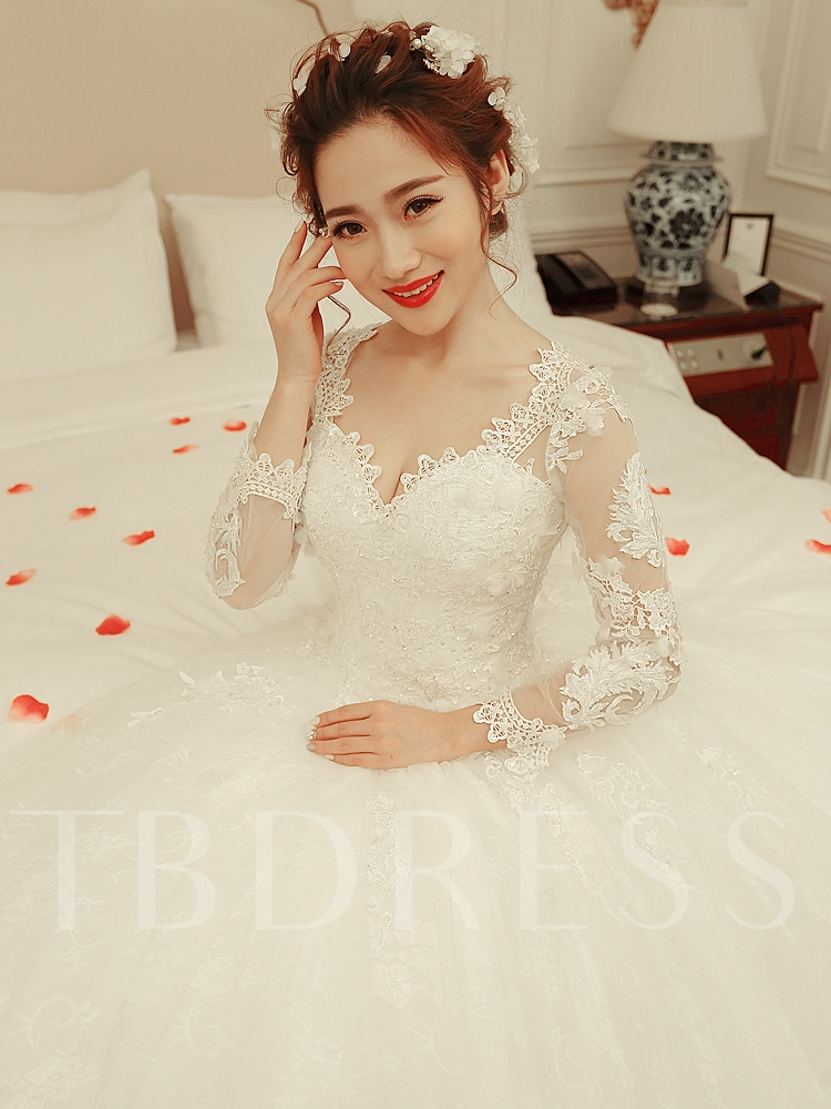 Long Sleeves Appliques Beading Ball Gown Wedding Dress