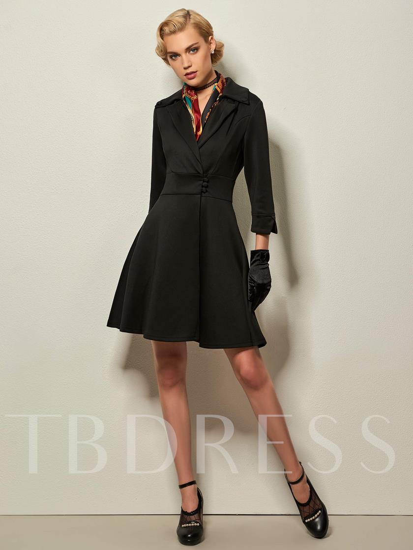 Polyester Three Quarter Sleeve Single-Breasted Slim Women's Day Dress