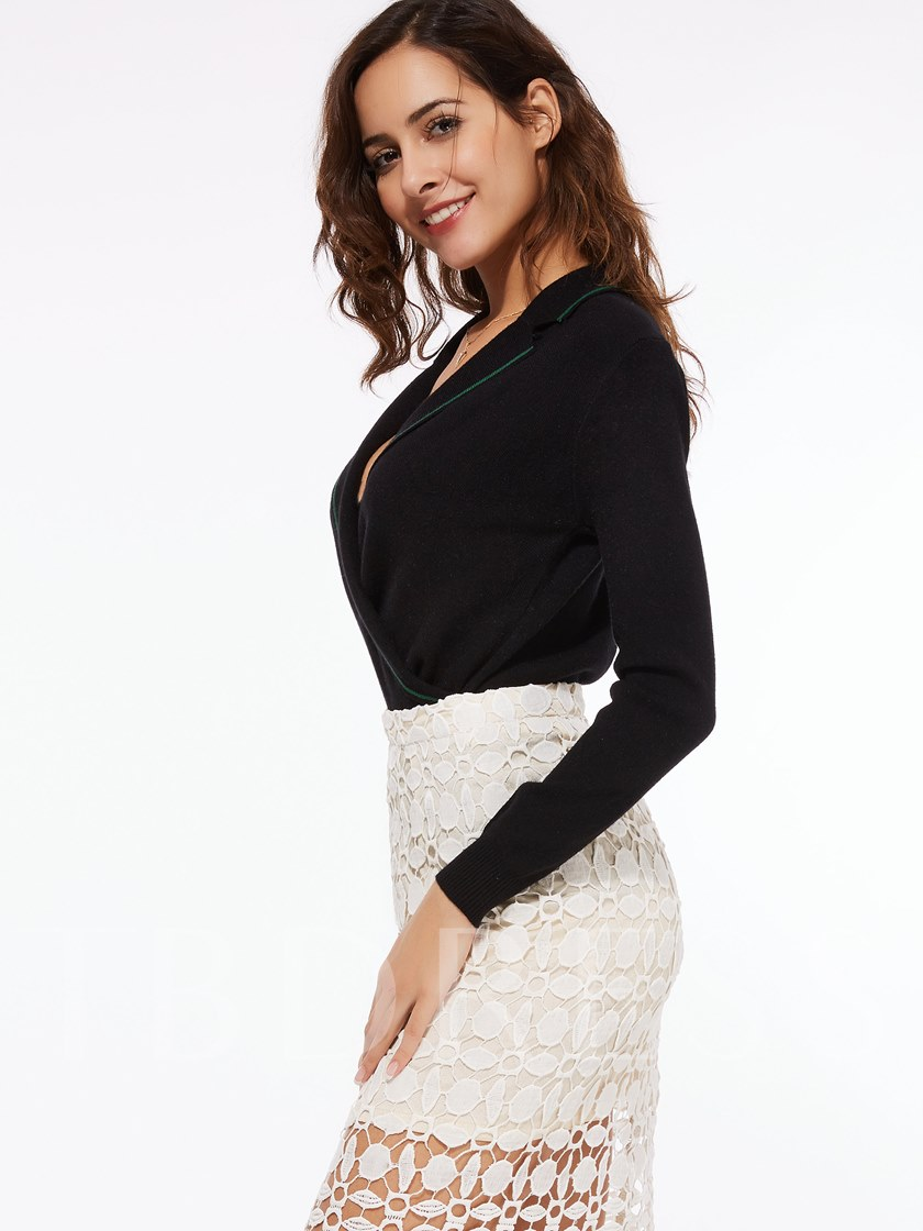 Solid Color Lapel V-Neck Long Sleeve Women's Sweater