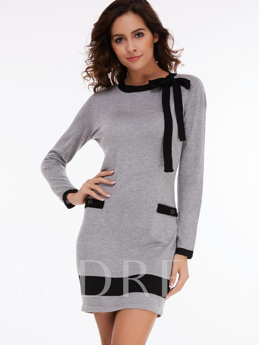 Fashion Vogue Bowknot Nine Points Sleeve Women's Sweater Dress