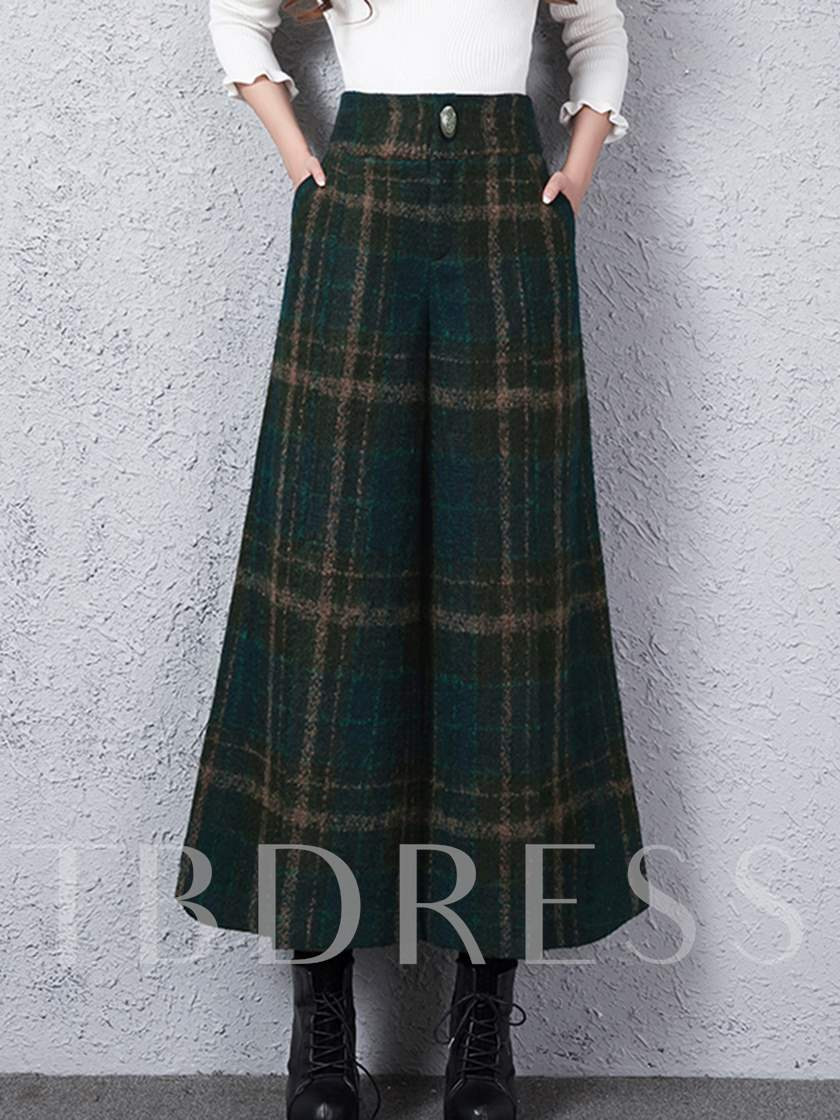 High Waisted Wide Leg Grid Women's Pants (Plus Size Available)