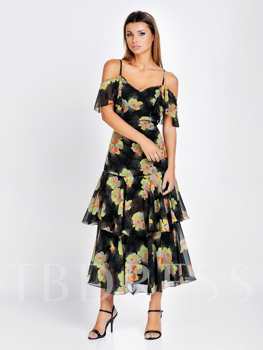 Sexy Style Off-the-Shoulder Short Sleeve Layered Dress Women's Day Dress