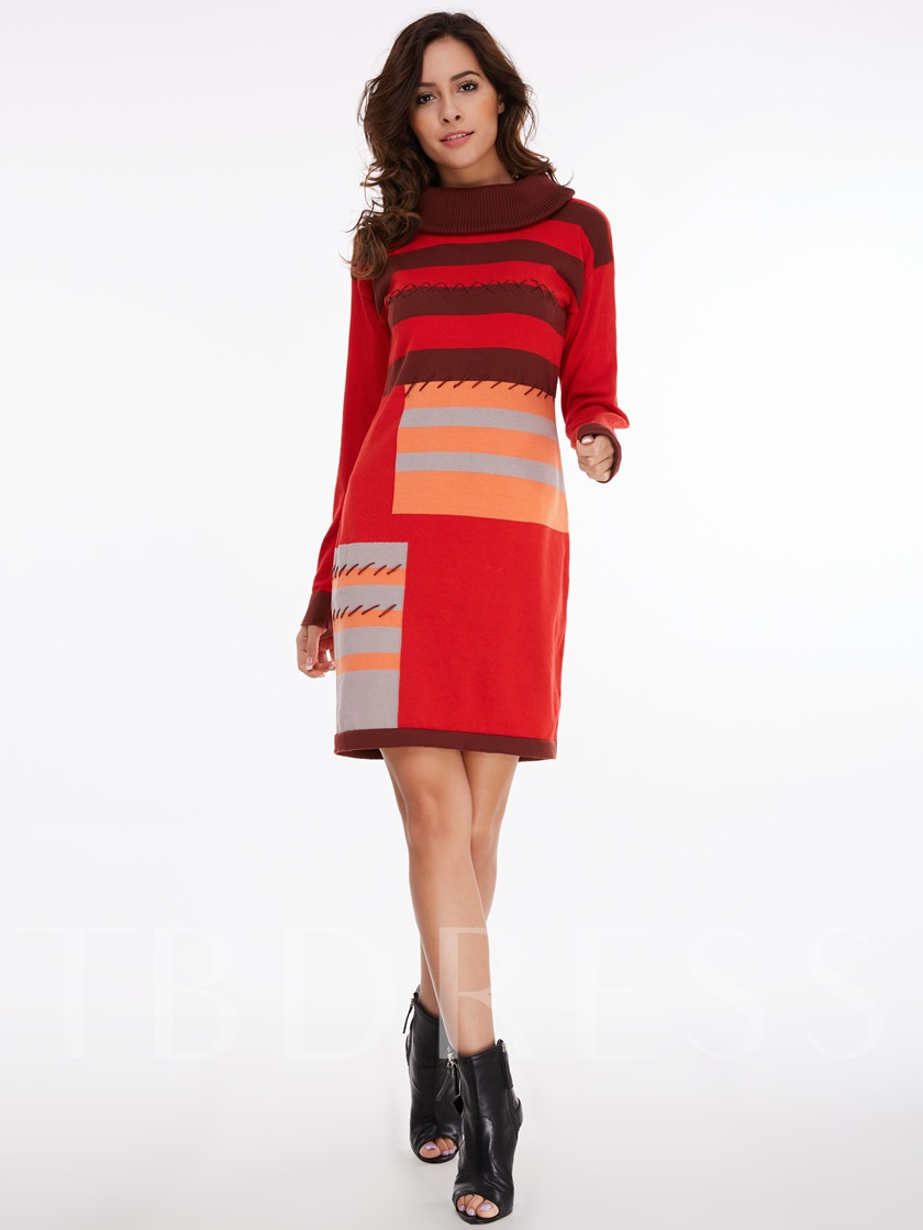 Color Block Long Sleeve Straight Women's Sweater Dress
