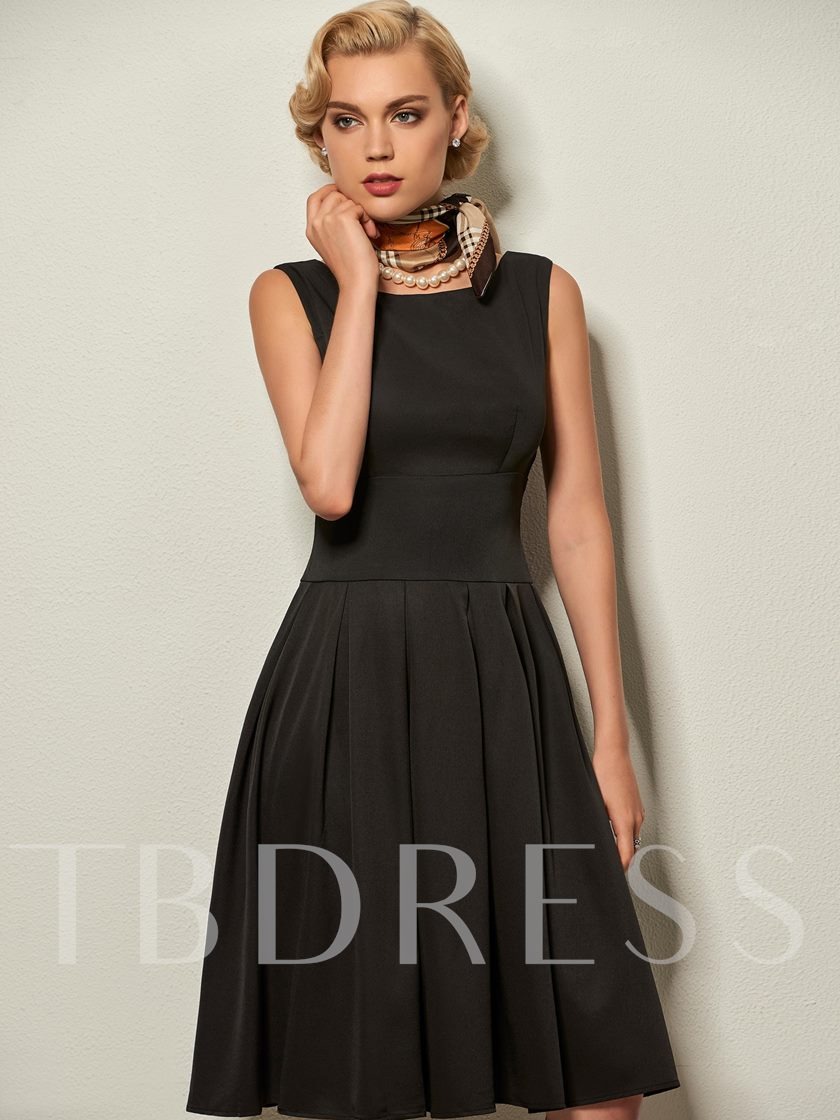 Plain Sleeveless Single Pleated Women's Day Dress
