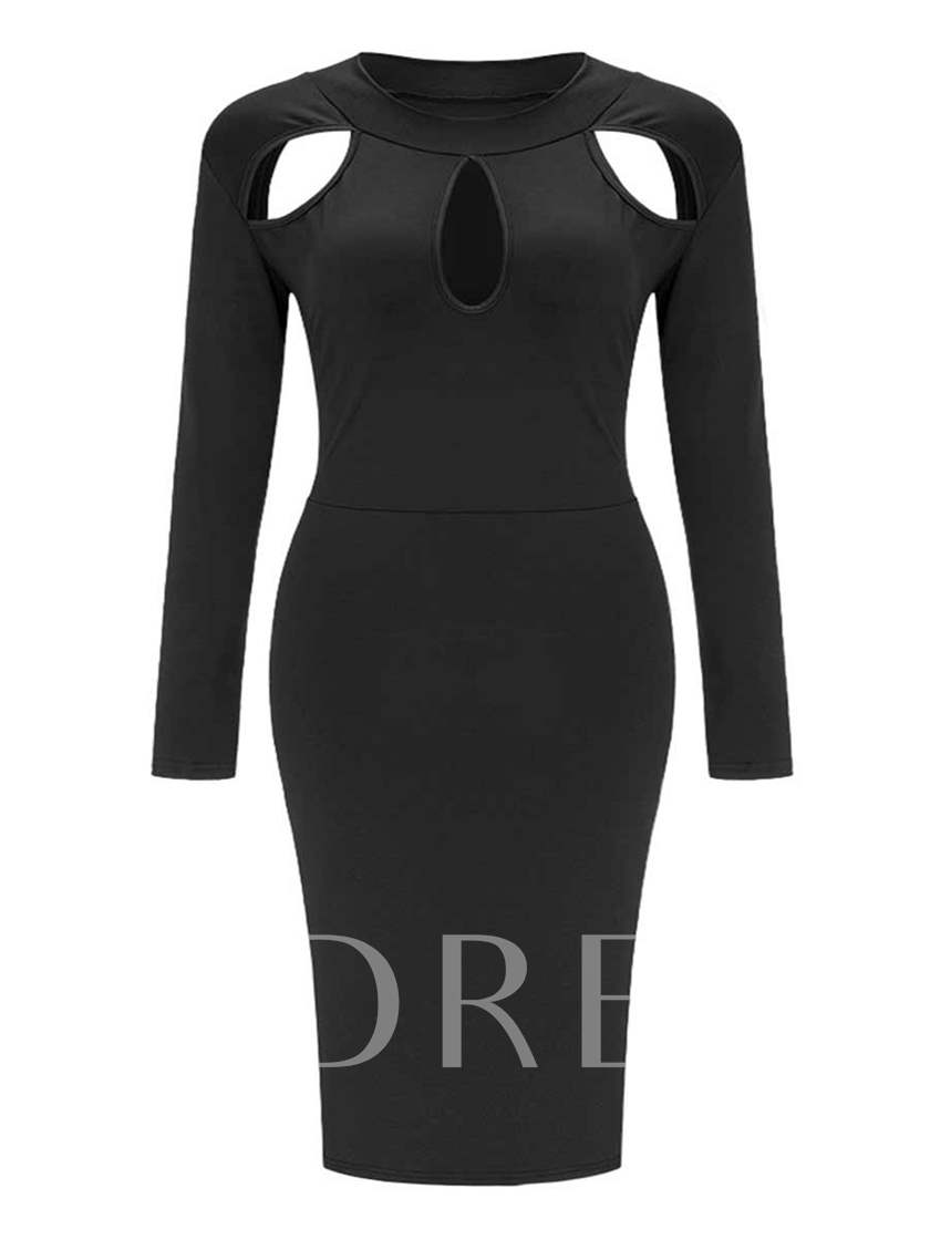 Plain Pencil Plus Size Long Sleeve Women's Sheath Dress