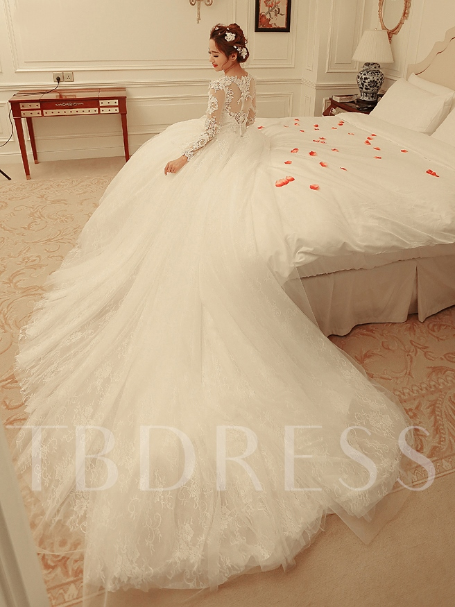 V Neck Long Sleeves Appliques Ball Gown Wedding Dress