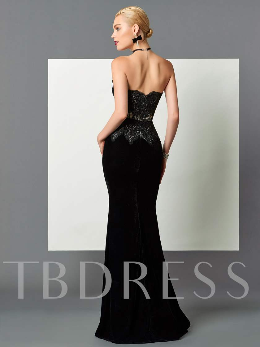 Strapless Velvet Lace Black Evening Dress