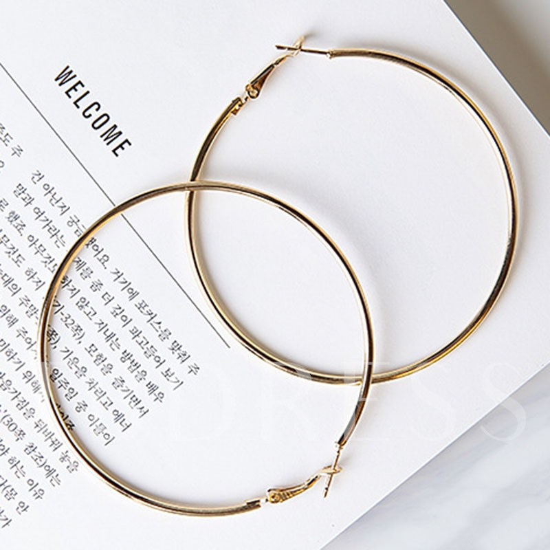 Exaggerated Alloy Round Design Hoop Earrings