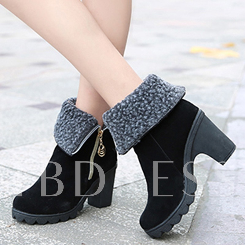 Round Toe Side Zipper Ankle Short Floss Platform Women's Boots