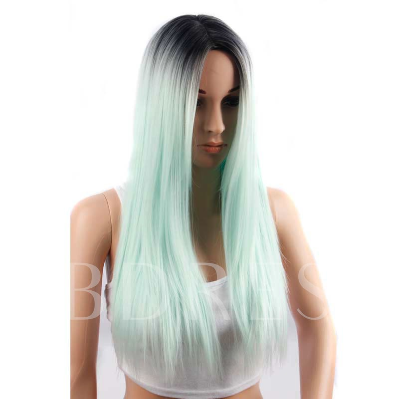 Blunt Cut Green Ombre Synthetic Wigs Long Strainght Capless Halloween 26 Inches