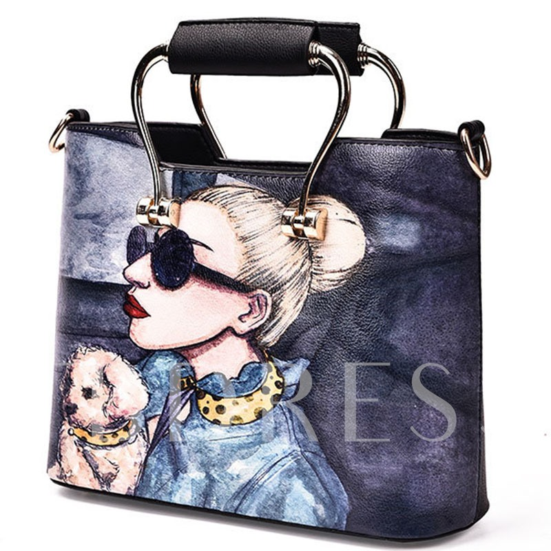 Sweet Cartoon Scrawling with Metallic Handle Women Handbag