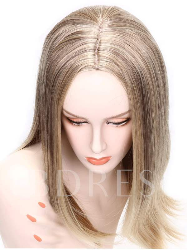 Center Part Blonde Synthetic Wigs Long Strainght Capless 20 Inches