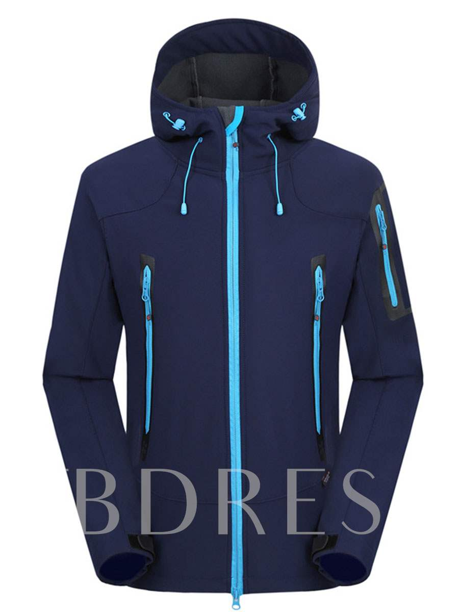Fleece Lining Breathable Waterproof Men's Soft Shell Jacket (Plus Size Available)