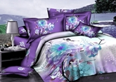 Purple Magnolia 3D Printed Cotton 4-Piece Bedding Sets/Duvet Covers
