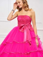 Strapless Bowknot Tiered Lace Quinceanera Dress