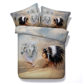 Horse and American Indian Chief Printed Cotton 4-Piece 3D Bedding Sets/Duvet Covers