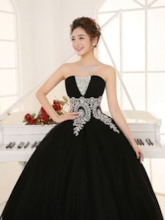 Strapless Sequins Appliques Beading Black Quinceanera Dress